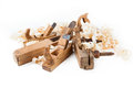 Planers with wooden chips, wood shavings Royalty Free Stock Image