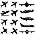 Planes in black various plane silhouettes Stock Photo