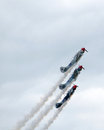 Planes flying close stunt preform in an air show in battle creek michigan usa Stock Photo