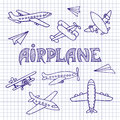 Planes on a notebook sheet