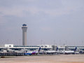 Planes parked at Denver International Airport Royalty Free Stock Photo