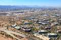 Planes trains autos busy transportation area in phoenix arizona from above Stock Image