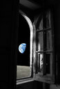 Planet earth away from old window loneliness conceptual picture of out of an black and white sadness house on the moon Royalty Free Stock Photos