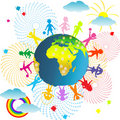 Planet Earth and children Royalty Free Stock Image