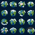 Planet earth with clouds emoticons set. Royalty Free Stock Photo