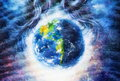 Planet earth in cosmic space surrounded by blue woman hair, Cosmic Space background. Original painting on canvas Royalty Free Stock Photo
