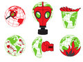 Planet Earth, environmental pollution, global disaster, ecology icons