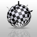 Planet Earth in the form of a chessboard with distant figures Royalty Free Stock Photo