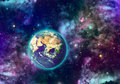 Planet earth and galaxy of different colors elements of this image furnished by nasa Royalty Free Stock Photos