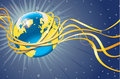 Planet earth with gold orbit and tapes space view ribbons from spacewallpaper for a computer or a banner vector Royalty Free Stock Photos