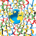 Planet Earth with hearts in Olympic colors around Royalty Free Stock Photo