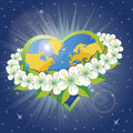 Planet earth in the heartsform with orbit of sprin Royalty Free Stock Photography