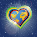 Planet earth in the heartsform in tolympic colors form of hearts olympic view from space sci fi vector illustration Stock Photos