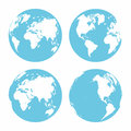 Planet Earth icon set. Earth globe on white background. Different parts of planet Royalty Free Stock Photo
