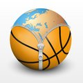 Planet earth inside basketball ball vector sport illustration Stock Photos