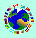 The planet Earth with its continents, oceans, islands and with the flags of many countries