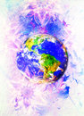 Planet earth in light circle. Computer collage. Earth concept. Marble effect. Royalty Free Stock Photo