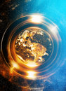 Planet Earth in light circle, Cosmic Space background. Computer Royalty Free Stock Photo
