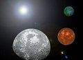 Planet earth and mars d rendered seen from the moon Stock Photo