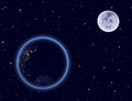 Planet earth and moon on night sky australia and part of asia elements this image furnished by nasa Stock Image