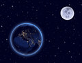 Planet earth and moon on night sky. Europe, Africa Royalty Free Stock Photo