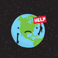 Planet Earth need help cartoon vector Royalty Free Stock Photo