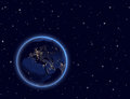 Planet earth on night sky europe africa and asia elements of this image furnished by nasa Stock Photo
