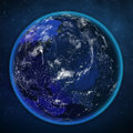 Planet earth night view from space. Royalty Free Stock Photo