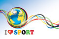 Planet earth with olympic rings and flying tapes the around the phrase i love sport wallpaper for computer vector Stock Photos