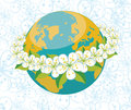 Planet earth with orbit of flovers.Spring backgrou Royalty Free Stock Photo