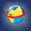 Planet earth orbit of hearts vector illustration golden rings with around the view from space Royalty Free Stock Photo