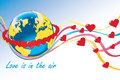 Planet earth with rings of hearts and colorful tap orbit red around flying ribbon heart love is in the air vector illustration Royalty Free Stock Image