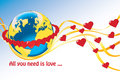 Planet earth with rings of hearts and flying tap ribbon heart all you need is love vector illustration Royalty Free Stock Photography