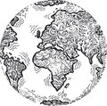 Planet earth sketched doodle sketchy doodles black and white digital illustration Stock Photo