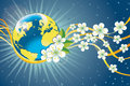 Planet earth with spring flowers and golden ribbon Royalty Free Stock Photo