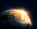 Planet earth and sun nasa imagery Royalty Free Stock Photo