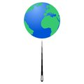 Planet earth on the tip of the needle earth day illustration white background Stock Photography