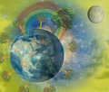Planet earth with trees and moon Royalty Free Stock Image
