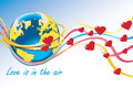 Planet earth with wedding rings hearts and colorf orbit of golden two around of flying ribbon heart love is in the air vector Royalty Free Stock Photography
