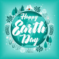 Planet in green leaves wreath. April 22. Happy Earth Day. Earth Day card design. Vector illustration