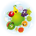 Planet with happy fruits Stock Images