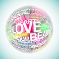 Planet of love a d illustration a colorful sphere consisting words Royalty Free Stock Photos