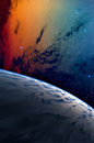 Planet and nebula blue with colorful cnebula Royalty Free Stock Photography