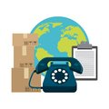 Planet phone package and check list icon. Delivery design. Vecto