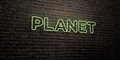 PLANET -Realistic Neon Sign on Brick Wall background - 3D rendered royalty free stock image
