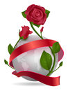 Planet, red ribbon and rose flower Royalty Free Stock Photo