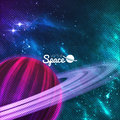 Planet with rings on colorful galaxy background, sturdust and nebula. Vector illustration. Royalty Free Stock Photo