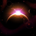 Planet in space background with planets and shining sun illustration Royalty Free Stock Photos