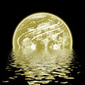 Planet star field and water reflection in the Stock Image