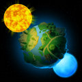 Planet with sun and moon Royalty Free Stock Photo